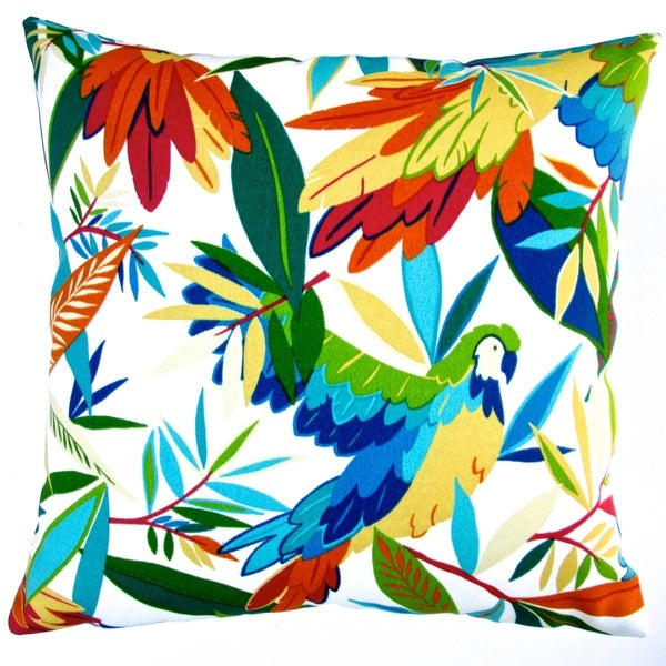 Artisan Pillows Indoor/ Outdoor 18-inch Kid s Colorful Hawaiian Tropical Birds White/ Ivory ...