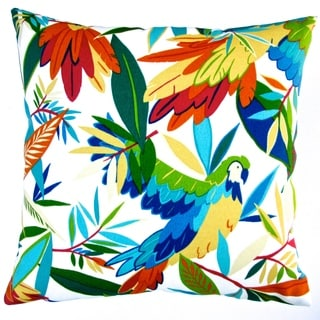 Artisan Pillows Indoor/ Outdoor 18-inch Kid's Colorful Hawaiian Tropical Birds White/ Ivory Throw Pillow (Set of 2)