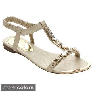 Marilyn Moda Esme Women's Comfort Elastic Strappy Rhinestones Flat Sandals