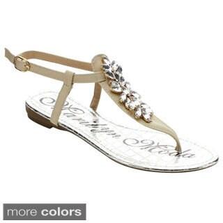 Marilyn Moda Bayo Women's T Strap Flat Thong Dress Sandals