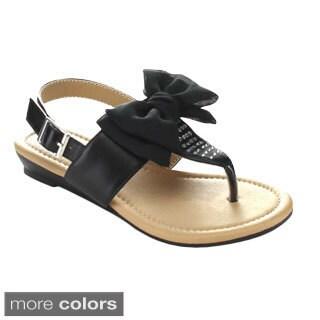 Little Angel Terry-746E Children's Bowknot Rhinestone Sling Back Sandals