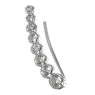 Queenberry Rhodium Sterling Silver Cubic Zirconia Dots Right Earring