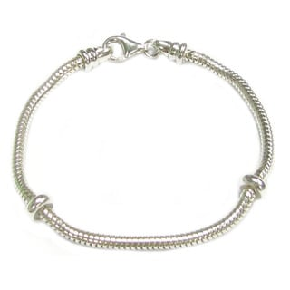Queenberry Sterling Silver 3mm Caprice Snake Bracelet with 2 Rubber Stoppers for European Bead Charms