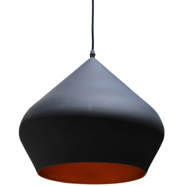 Vino 1-Light Black and Gold Beat Stout Medium Pendant