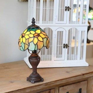 """Copper Grove Blandford 11.5-inch Tiffany Style Stained Glass Sunflower Blossoms Lamp - 6""""L x 6""""W x 12""""H"""