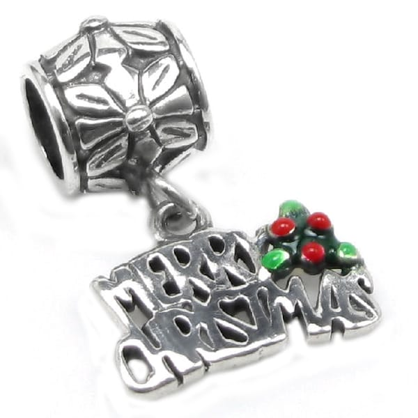 Queenberry Sterling Silver Merry Christmas Holly Dangle European Bead Charm