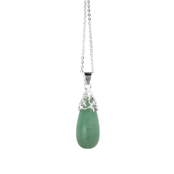 Queenberry Sterling Silver Genuine Green Aventurine Stone Teardrop Pendant Necklace