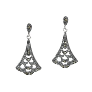 Queenberry Antique Sterling Silver Marcasite Bali Leaf Dangle Earrings