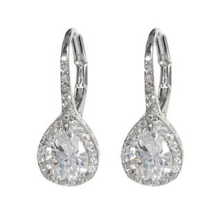 Queenberry Sterling Silver Cubic Zirconia Teardrop Earrings