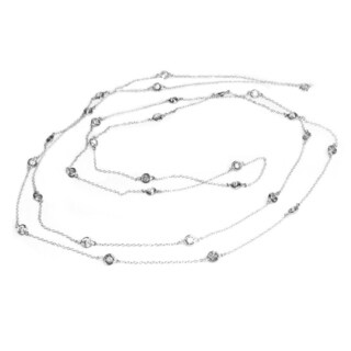 Queenberry 54-inch Sterling Silver Round Clear Cubic Zirconia Link Rolo Chain Necklace