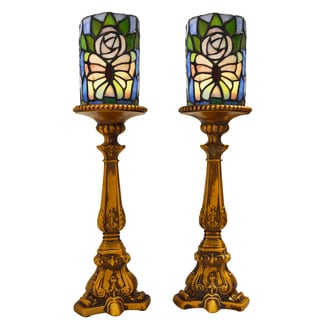 Butterfly Stained Glass LED Battery Operated Candle Holders (Set of 2)