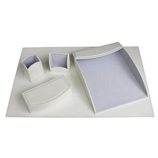 Daisy White 5-piece Leatherette Desk Set