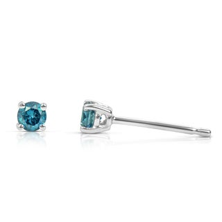 Suzy Levian 14k White Gold .15ct TDW Round Blue Diamond Stud Earrings