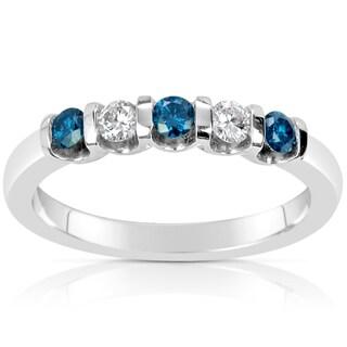 Suzy Levian 14k White Gold .40ct TDW Blue and White Diamond Anniversary Band Ring (H-I, SI1-S12)