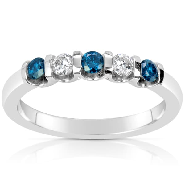 Suzy Levian 14k White Gold .40ct TDW Blue and White Diamond Anniversary Band Ring (H-I, SI1-S12)
