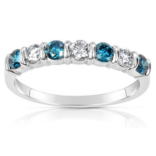 Suzy Levian 14k White Gold .65ct TDW Blue and White Diamond Anniversary Band Ring (H-I, SI1-S12)