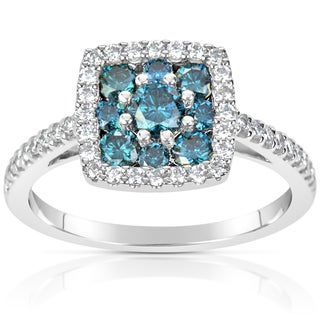 Suzy Levian 14k White Gold 1ct TDW Blue and White Diamond Ring (H-I, SI1-S12)