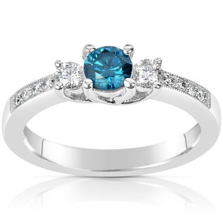Suzy Levian 14k White Gold .60ct TDW Blue and White Diamond Ring (H-I, SI1-S12)