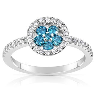 Suzy Levian 14k White Gold .61ct TDW Blue and White Diamond Ring (H-I, SI1-S12)