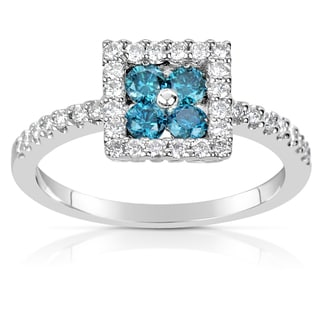 Suzy Levian 14k White Gold .58ct TDW Blue and White Diamond Ring (H-I, SI1-S12)