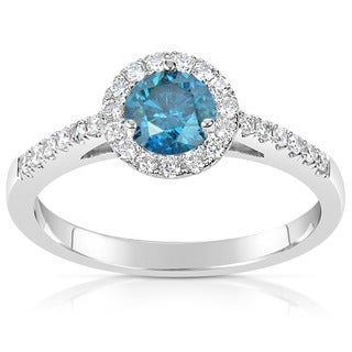 Suzy Levian 14k White Gold .78ct TDW Blue and White Diamond Engagement Ring (H-I, SI1-S12)