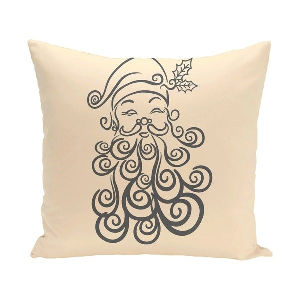 White Decorative Holiday Saint Nick Print 18-inch Pillow