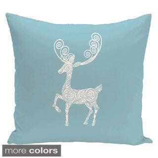 Decorative Holiday Reindeer Print 18-inch Pillow