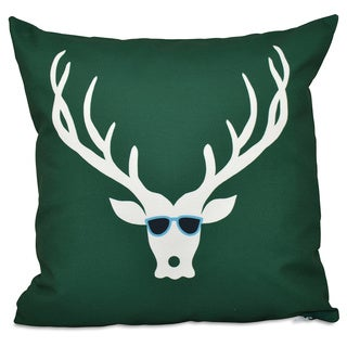 Decorative Holiday Cool Deer Print 18-inch Pillow
