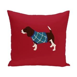 Red Decorative Holiday Hound Dog Print 18-inch Pillow