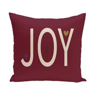 Red Decorative Holiday 'Joy' Print 16-inch Pillow