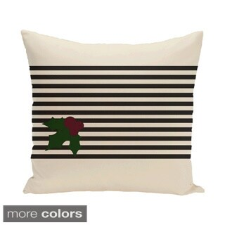 Decorative Holiday Mistletoe Stripe Print 16-inch Pillow