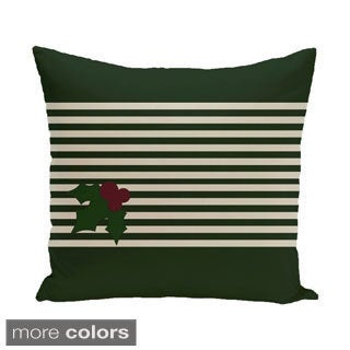Decorative Holiday Stripe Mistletoe Print 16-inch Pillow