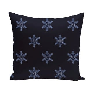 Decorative Holiday Multi Snowflake Print 16-inch Pillow