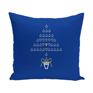 Decorative Holiday Tree Print 16-inch Pillow