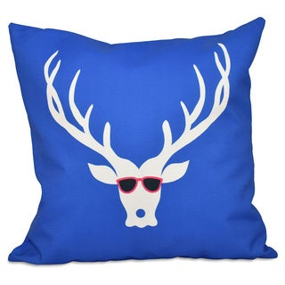 Decorative Holiday Cool Deer Print 16-inch Pillow