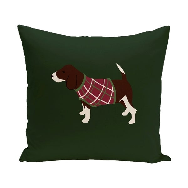 Green Decorative Holiday Hound Dog Print 16-inch Pillow