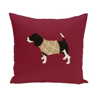 Red Decorative Holiday Hound Dog 16-inch Pillow