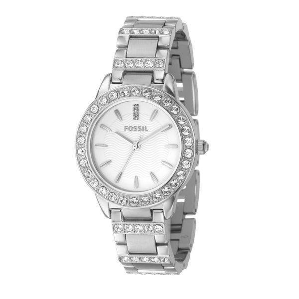 Fossil Ladies Dress Watch Es2362 With White Dial Stone Encrusted Topring And Bracelet