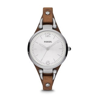 Fossil Women's Leather ES3060 Brown Analog Quartz Watch with Silver Dial