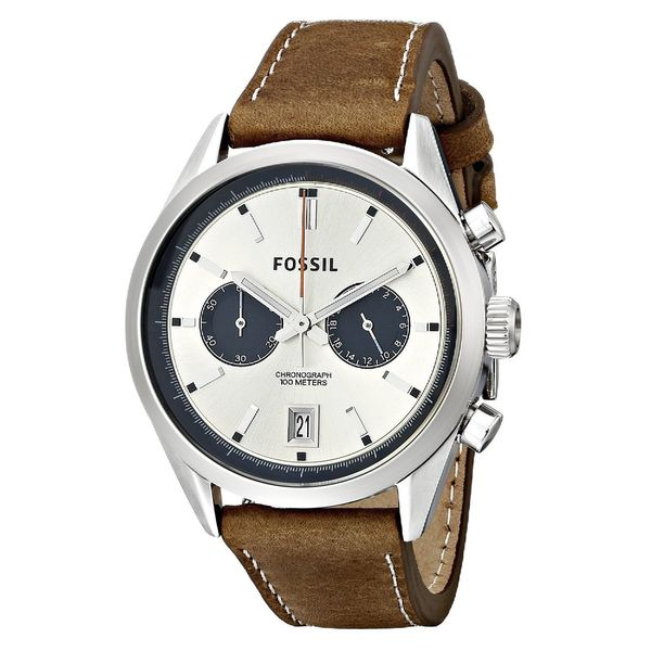 Fossil Men's CH2952 Del Rey Chronograph Leather Brown Watch