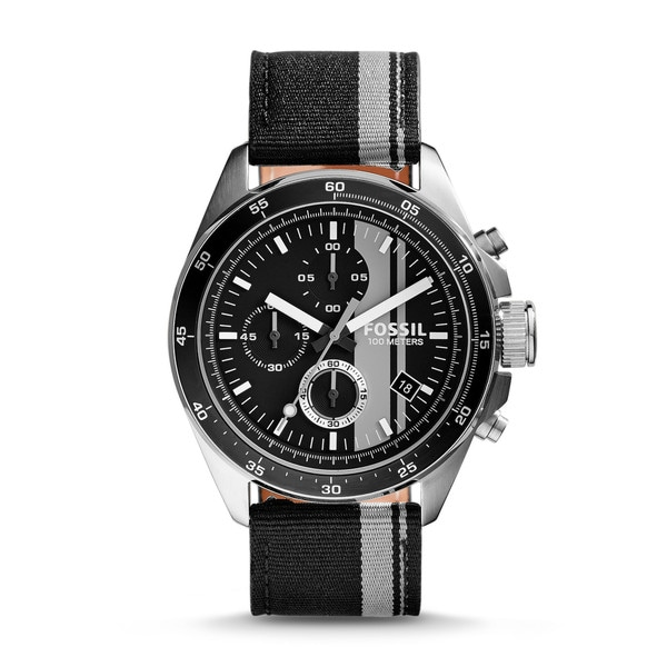 Fossil Mens CH2959 Decker Chronograph Nylon Black and Gray Watch