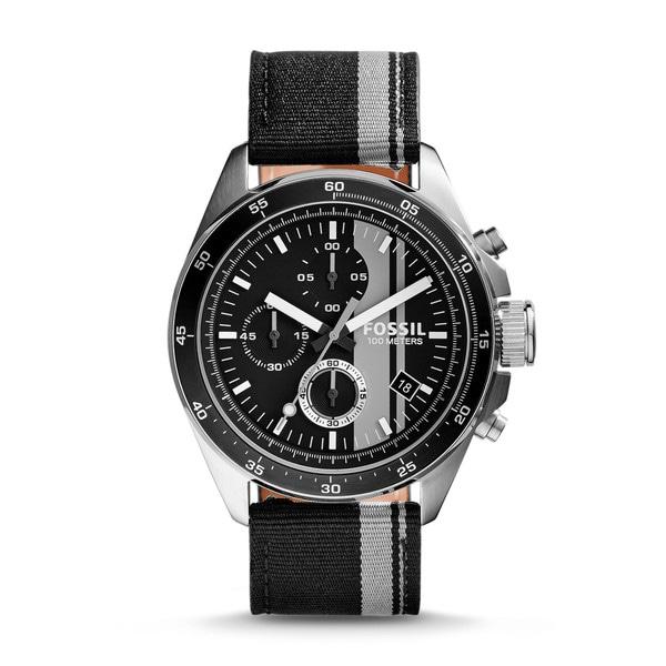 Fossil Mens CH2959 Decker Chronograph Nylon Black and Gray Watch