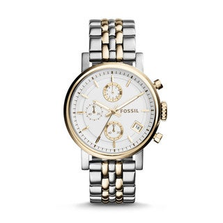 Fossil Woman's ES3746 Original Boyfriend Chronograph Stainless Steel Two-Tone Watch