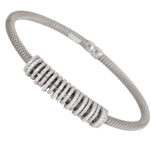 Sterling Silver Center Cubic Zirconia Twist Bangle