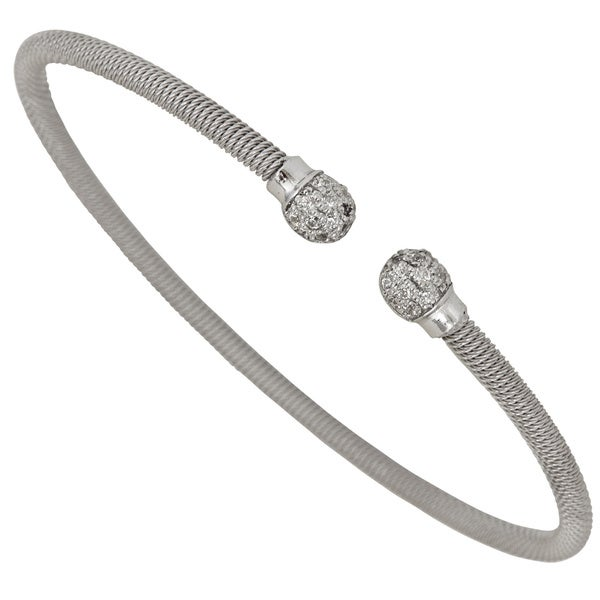 Sterling Silver 2-stone Cubic Zirconia Ball Italian Bangle