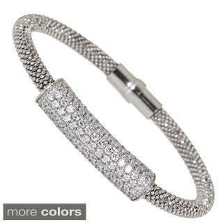 Sterling Silver Cubic Zirconia Popcorn Magnetic Mesh Bracelet