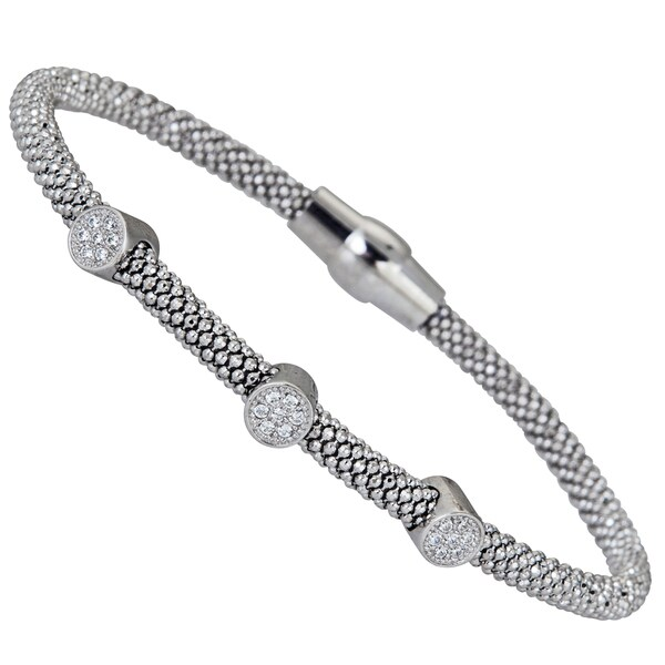 Sterling Silver Cubic Zirconia 3-circle Magnetic Popcorn Bracelet