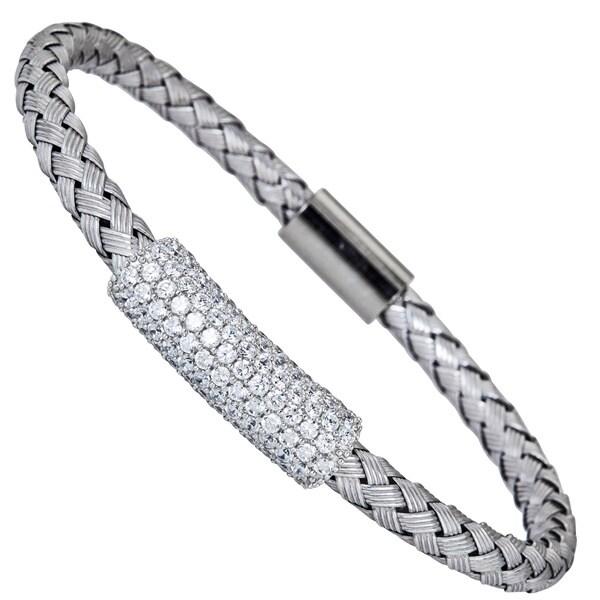 Sterling Silver Center Cubic Zirconia Bar Italian Magnetic Mesh Bracelet