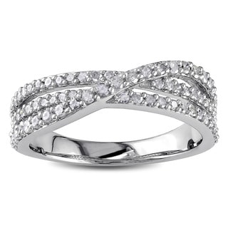 Haylee Jewels Sterling Silver 1/2ct TDW Diamond Cross Over Ring (J-K, I2-I3)