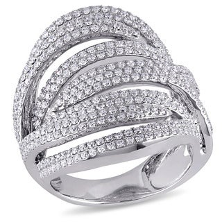 Miadora Signature Collection 18k White Gold 1 5/8ct TDW Diamond Multi-row Cocktail Ring (G-H, SI1-SI2)